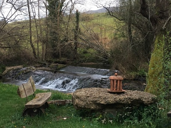 Peaceful river and stone chair