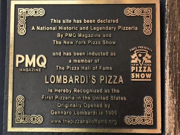 Lompardi's restaurant plaque