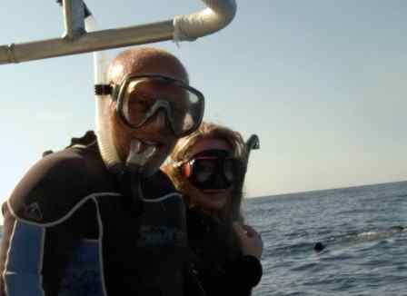 Randy and I headed with whale sharks!
