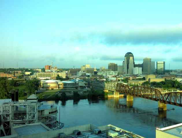 Riverboat is on the bottom left, and downtown Shreveport across the Red River