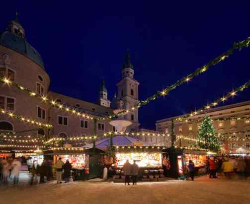 Beautiful Salzburg with Christmas lights.