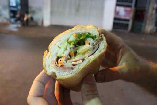 Vietnamese streetfood sandwhich banh mi thit