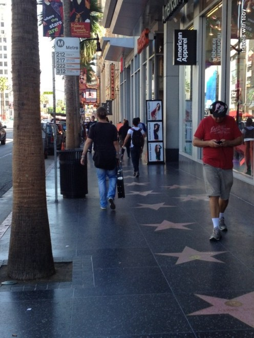 A piece of the Hollywood Walk of Fame - look down to see the stars.