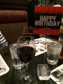 "the ""happy birthday"" doodad with my free glass of wine"