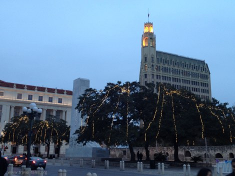 Tree lights in front of Alamo