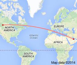 Map Calgary to Qatar