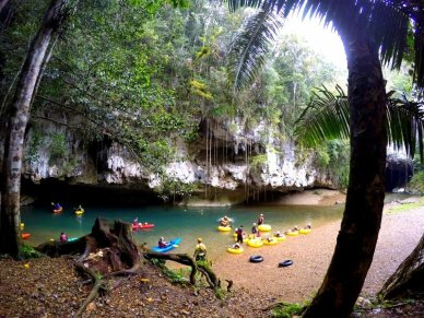 Cave tubing Belize family