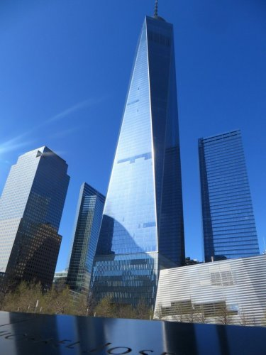 One World Trade Center with Memorial Pool in foreground