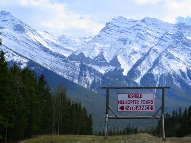 Icefield helicopter Tours sign