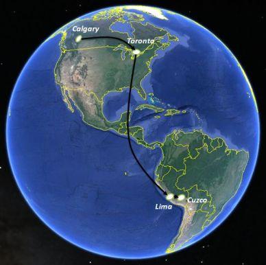 Map Calgary to Cuzco