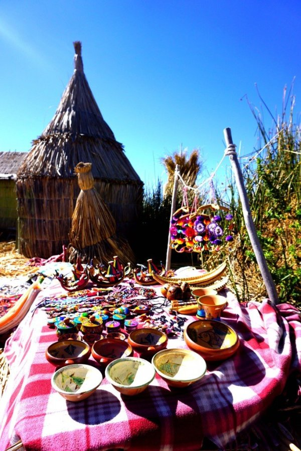 Handicrafts made by the Uros women for sale to tourists