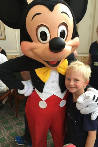 Mickey Mouse and boy
