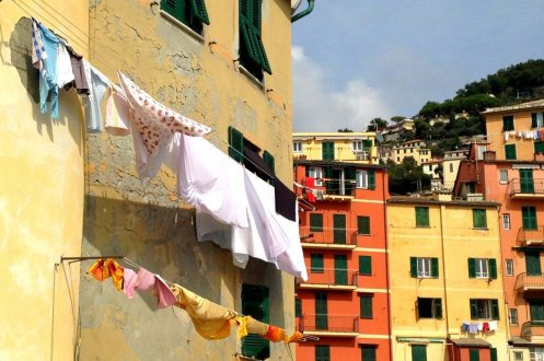 Hanging clothes Camogli Italy
