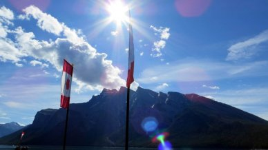 Canada flags at Lake minnewanka