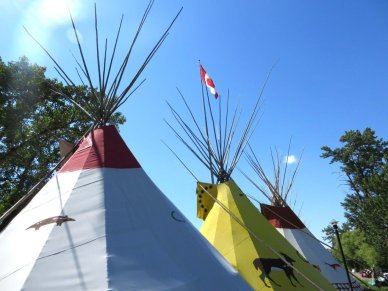 Canadian Flag and teepees