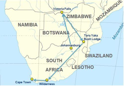 Itinerary and map South Africa nad Zimbabwe