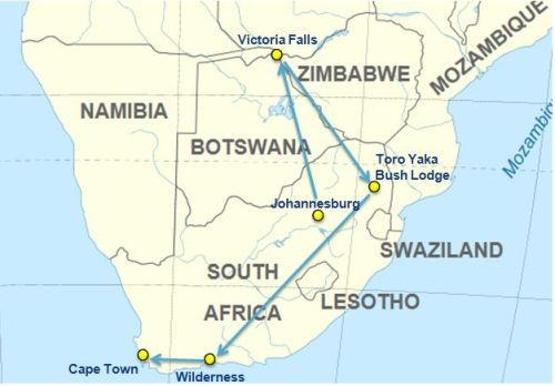 Itinerary and map South Africa nad Zimbabwe