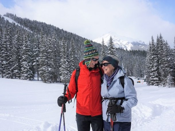 Banff family activities snowshoeing in her 80s