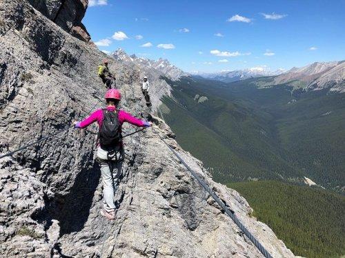 Banff Via Ferrata 3 wire bridge Mount Norquay