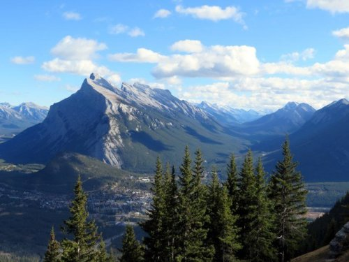 View of Banff from the sightseeing chairlift at Mount Norquay