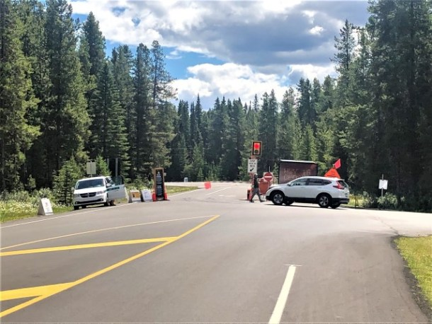 Bow Valley Parkway closure west gate at Castle Junction