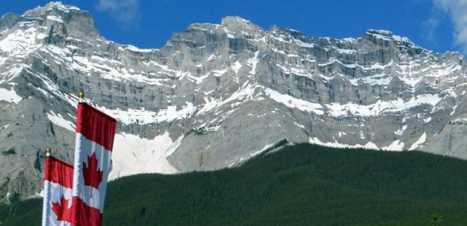 Canada flag rocky mountains