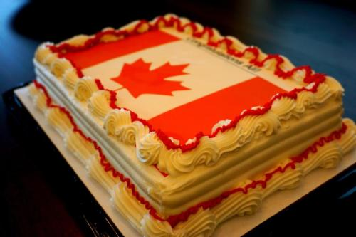 Canada cake celebration for Syrian refugee