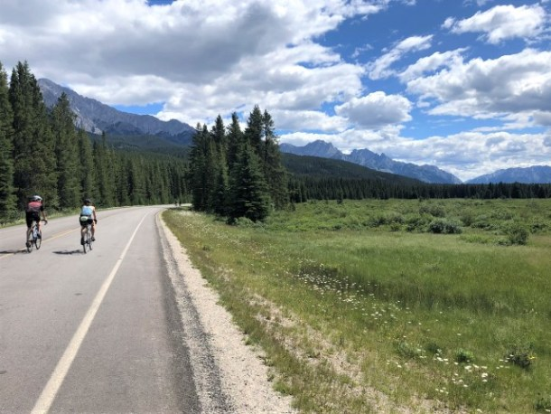 Cycling from Castle Mountain toward Johnston Canyon