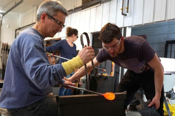 Glass blown art making