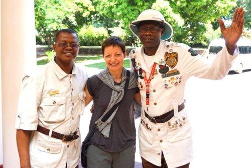Guest and doormen Victoria Falls hotel