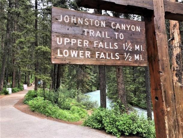 Hiking sign for Johnston Canyon