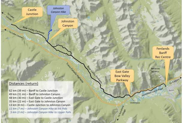 Map Bow Valley Parkway route to Johnston Canyon