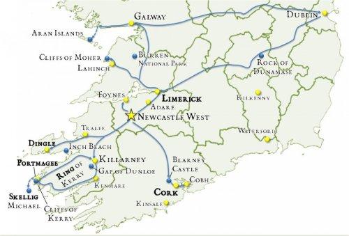 Map Ireland itinerary 14 days