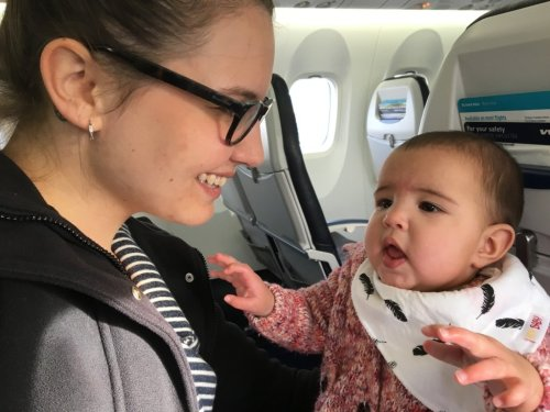Mom baby airplane