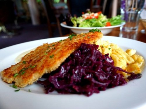 Schnitzel with spaetzle braised red cabbage