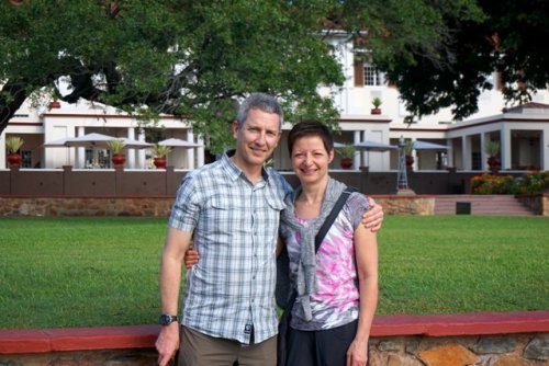 Couple with travel clothes