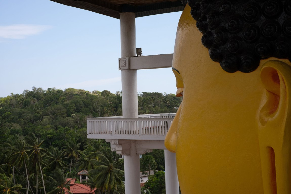 Giant Buddha head at Weherahena Temple
