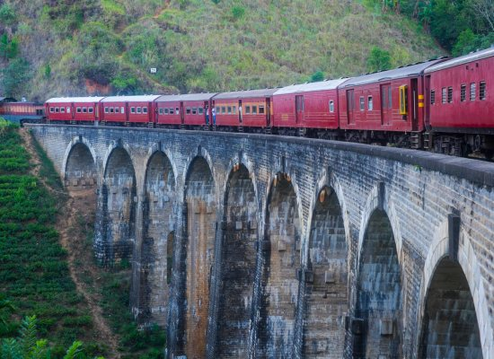 A train crosses the Nine Arches Railway Bridge in Sri Lanka.