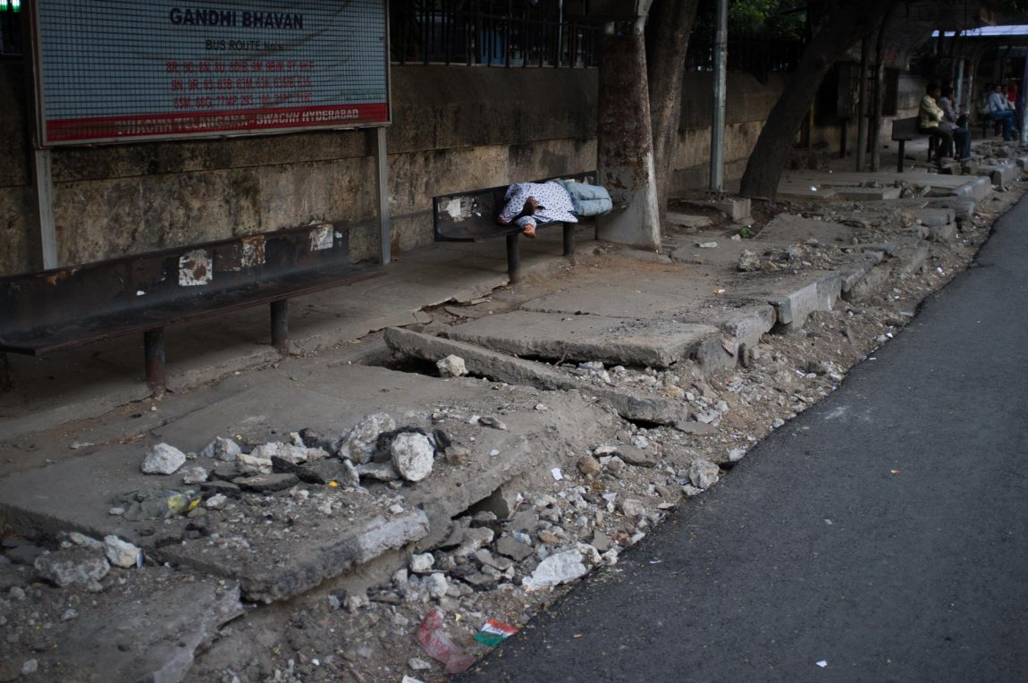 One of India's many crappy pavements.