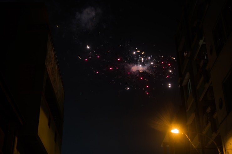 Fireworks exploding in the sky above Chennai.