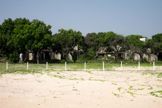 Derelict buildings behind Nilaveli Beach.