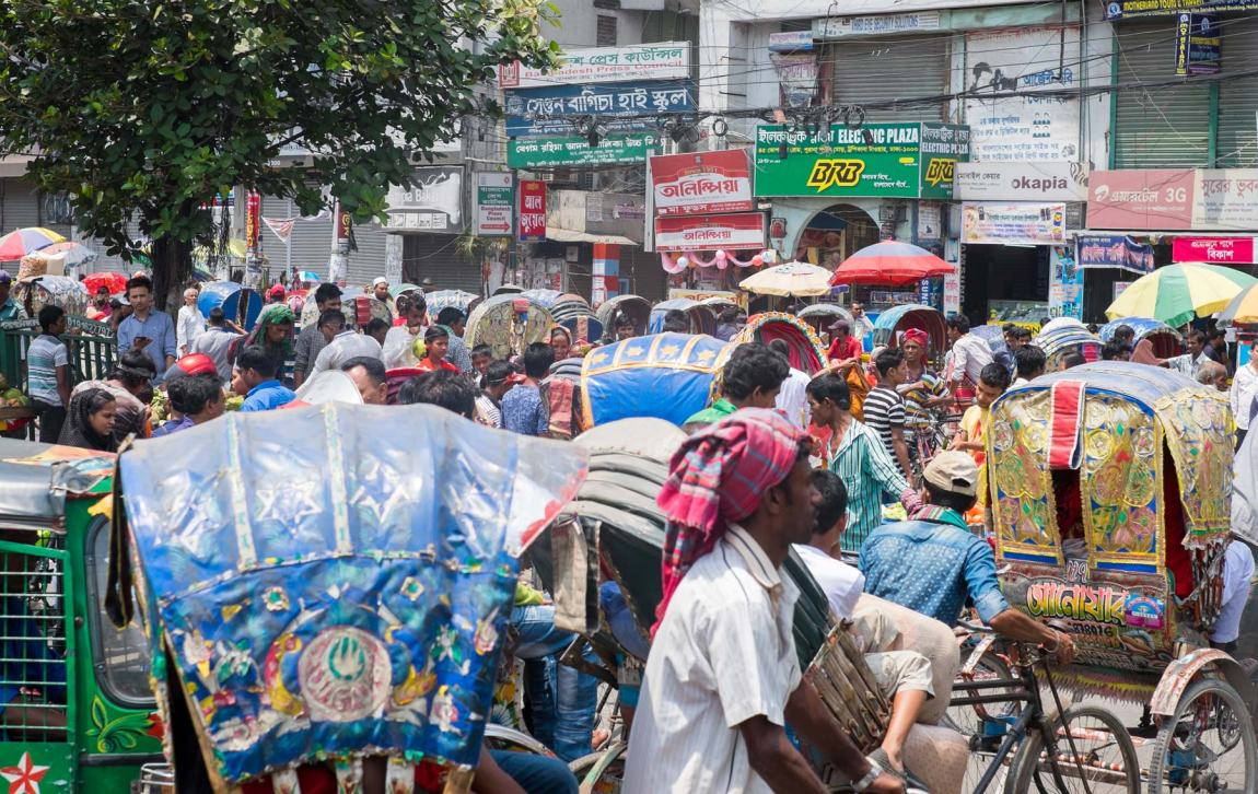 A busy street in central Dhaka.