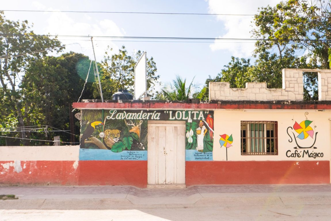 A colourful building in the town of Bacalar, Mexico