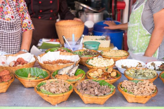 Baskets of breakfast food in Chiang Mai.