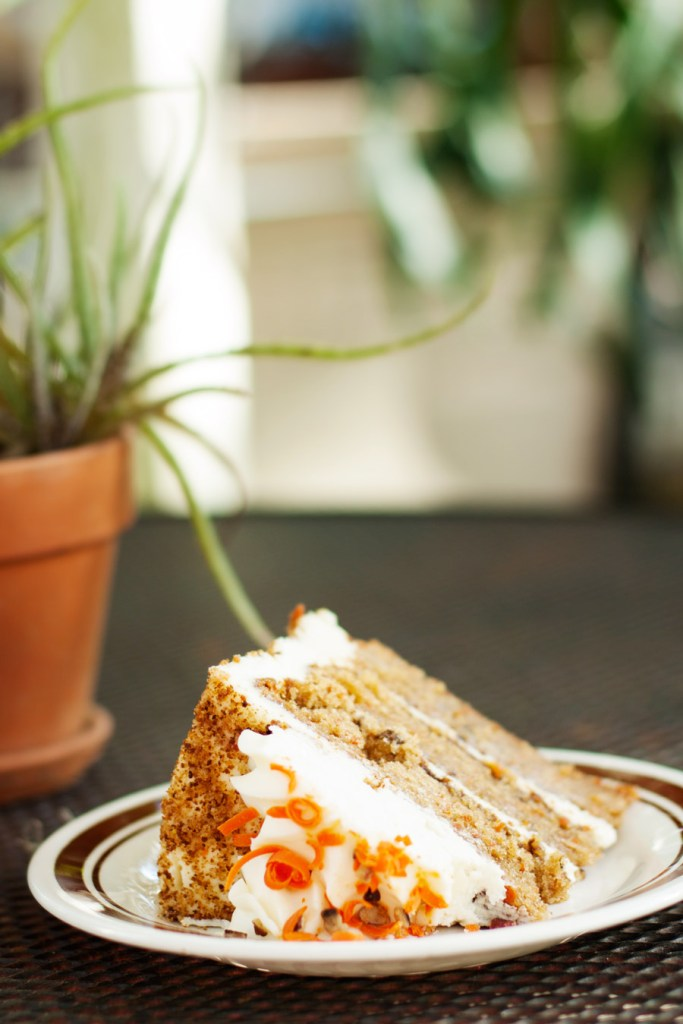 A slice of carrot cake at the Old Florida Cafe is a must eat in Micanopy, FL