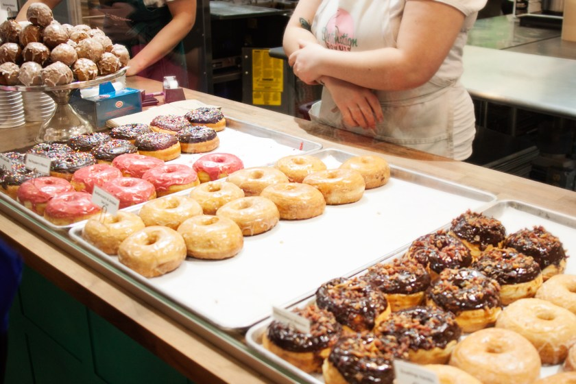 The donut selection at Destination Donuts - North Market in Columbus, Ohio
