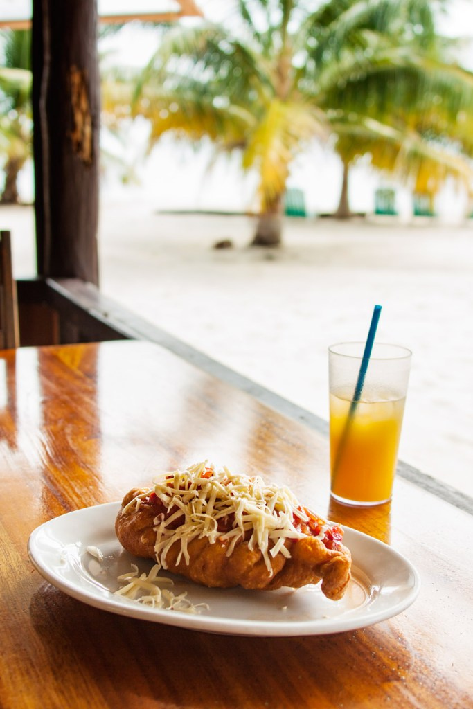 Breakfast fry jack with a view - Placencia, Belize