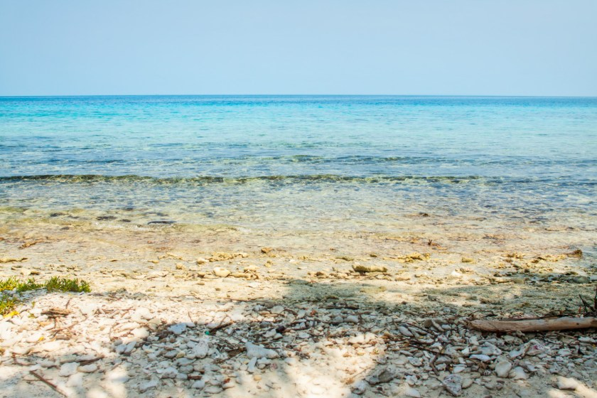 The water is crystal clear surrounding Laughing Bird Caye, off the coast of Placencia in Belize