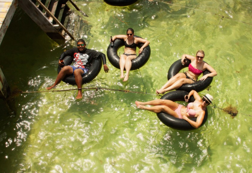 Palapa Bar in Ambergris Caye, Belize. Float in an inner tube while you drink!