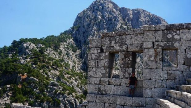 My husband hiding in the amphitheatre of Termessos